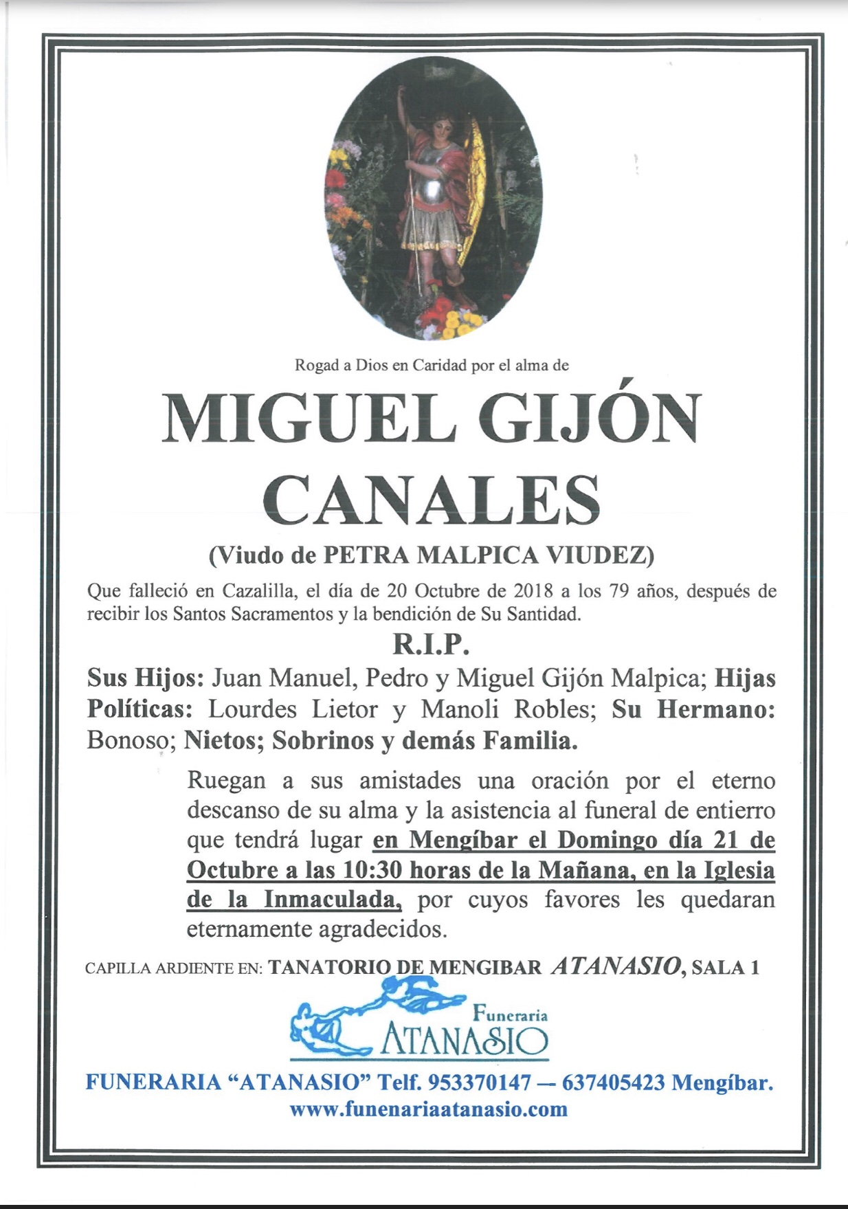 D miguel gijon canales funeraria atanasio for Jardin noega tanatorio gijon esquelas